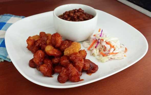 Matlaw S Saucy Barbecue Popcorn Shrimp With Baked Beans And Cole Slaw